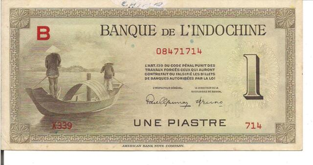 FRENCH INDO - CHINA, 1 PIASTRE,  ND(1945)
