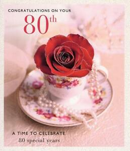 Image Is Loading Happy 80th Birthday Greeting Card Glitter Decorated Greetings