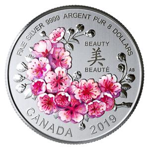 Canada-8-Brilliant-Cherry-Blossoms-Beauty-Pure-Silver-Coin-UNC-2019