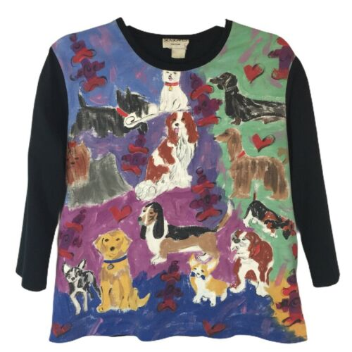 SILKSCAPES Vintage Painted Dogs Knit Sweat SHIRT T