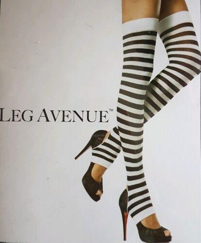 LEG AVENUE Over-the-Knee-Chaussettes noir//blanc rayé BNWT Knee highs Étrier Foot