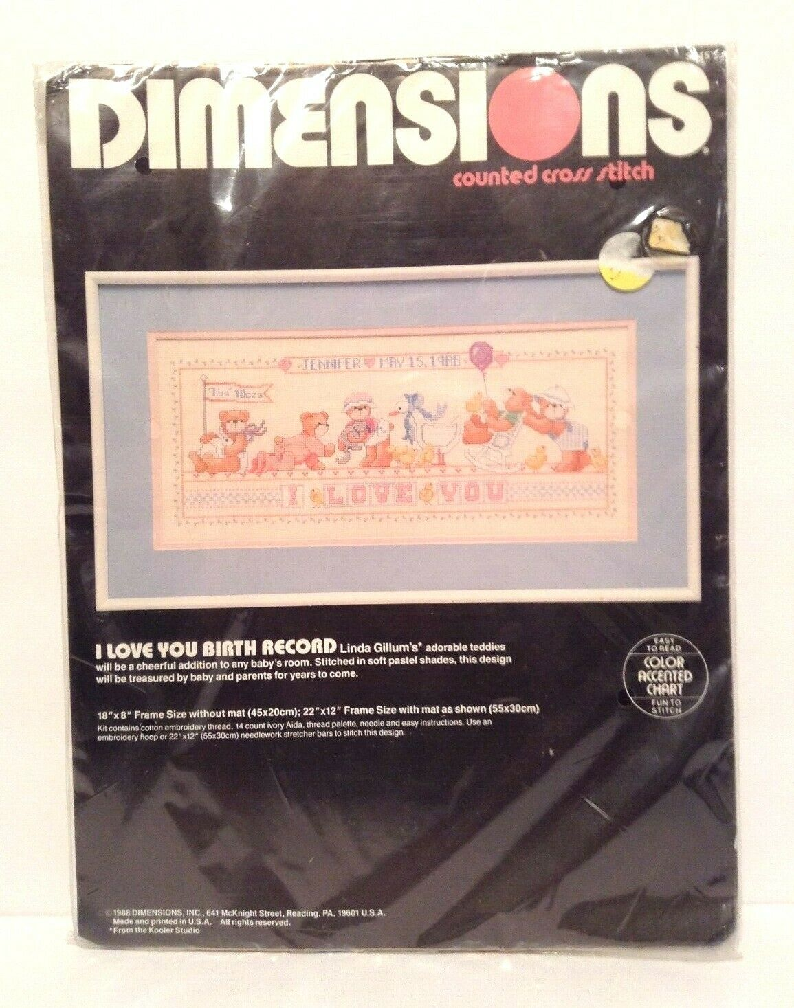 Dimensions I Love You Birth Record Counted Cross Stitch Kit #3645 18