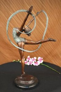Multicolore-Patine-Fonte-Ruban-Danseuse-Bronze-Sculpture-Art-Deco-Statue-Affaire