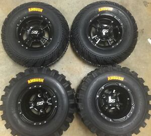 4 NEW CAN AM DS450 BLACK ITP SS112 Rims FOUR WHEEL SET CAPS /& LUGS
