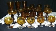 21 Piece Antique Amber Glassware