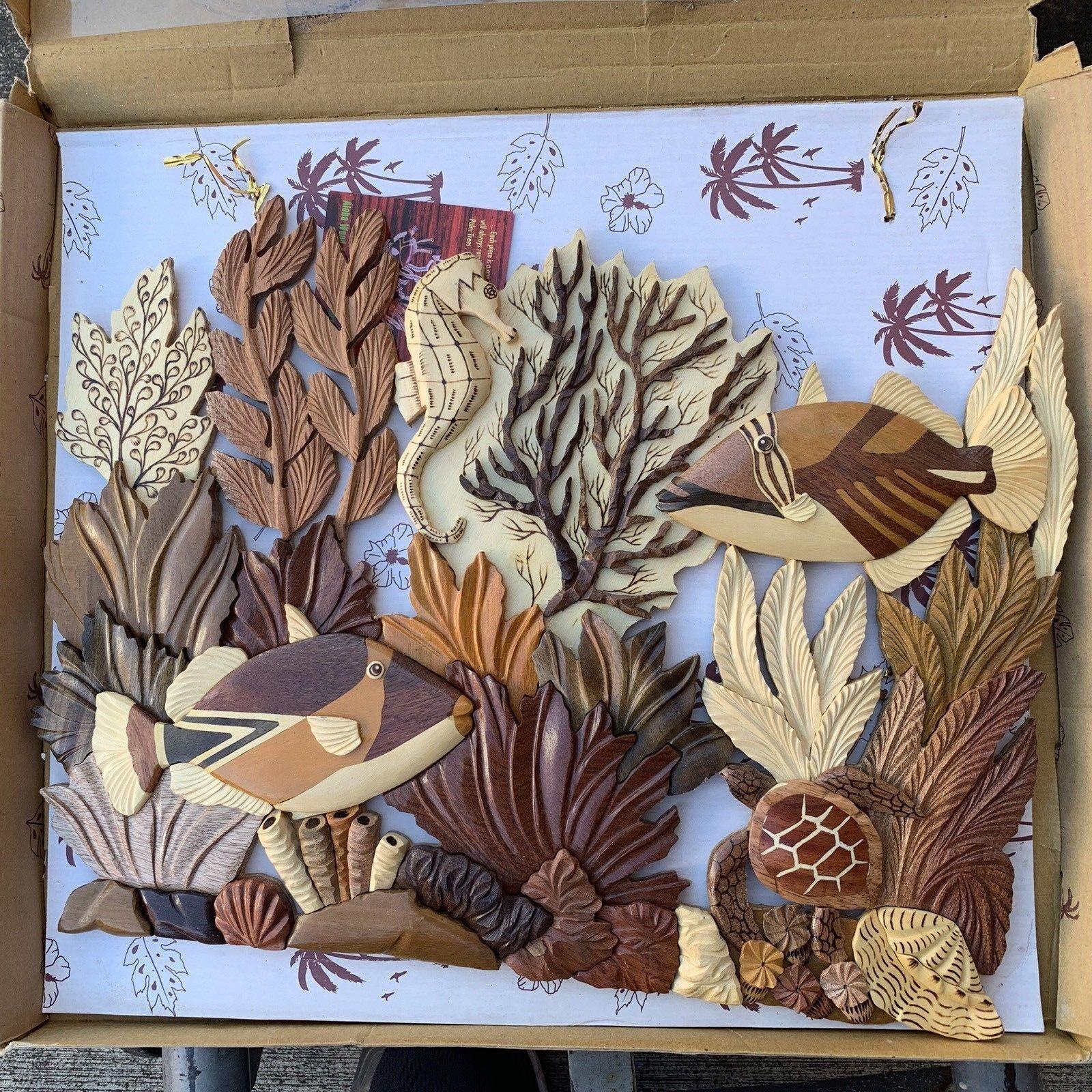 XL Hawaiana C1-coral Reef Tartaruga Humu Fatto a Mano Wood Arte da Parete Hawaii