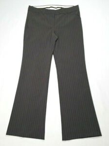 Theory Women Size 6 Bootcut Dress Pants Trouser Slacks Brown Pinstripe Wool