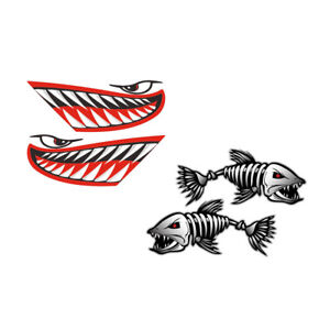4Pcs Vinyl Shark Mouth Teeth & Fish Skeleton Decal Kayak Boat Dinghy Sticker