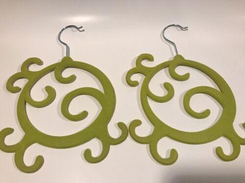 Velvet Flocked Jewelry Scarf Holder Hanger Set Of 2 In GREEN PINK OR BLUE