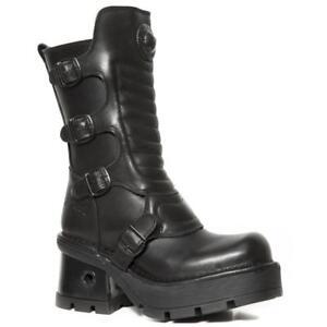 Pelle Rock Tacco Heel Nero Leather Boot New Da Black zaZEx7xqRw