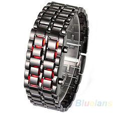 Mens Womens Foxy Lava Iron Samurai Metal LED Faceless Bracelet Watch Wristwatch