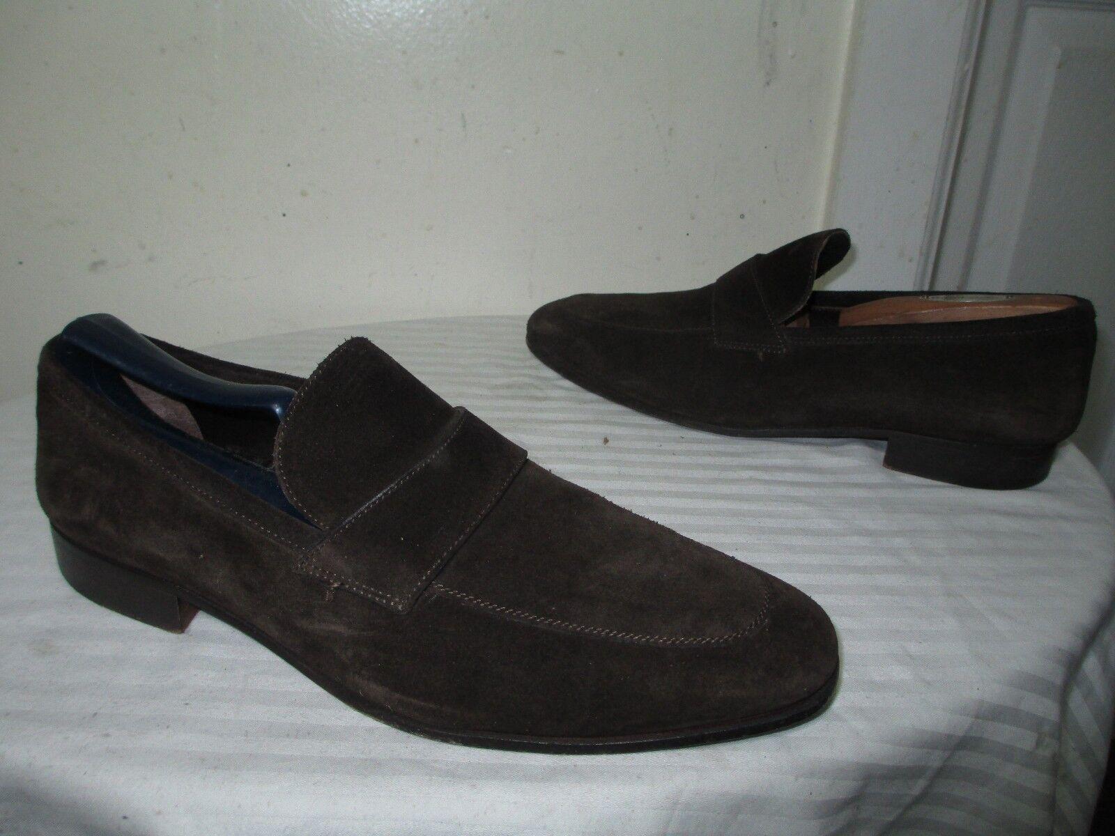 A.TESTONI BASIC uomo'S BROWN SUEDE SLIP ON LOAFERS DRESS SHOES SZ 7 M Scarpe classiche da uomo