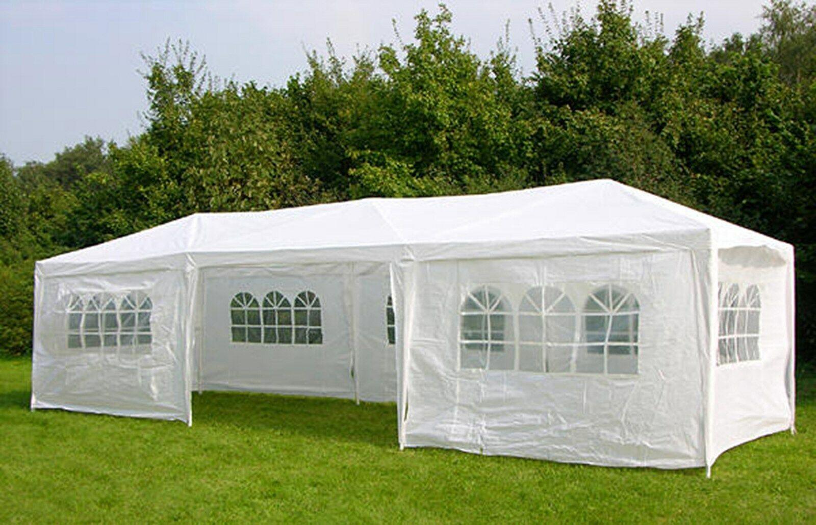 3M X 9 M BIANCO IMPERMEABILE ESTERNO GIARDINO GAZEBO Party Tenda Marquee Canopy NUOVO