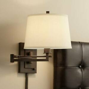 Modern Swing Arm Wall Lamp Bronze Plug-In Fixture Bedroom Bedside Living Room