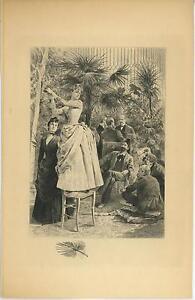 ANTIQUE VICTORIAN PRETTY GIRL GARDEN PALMS TREES BOTANICAL PLANTS REMARQUE PRINT