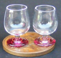 1:12 Scale 2 Brandy Glasses With Red Base Dolls House Miniature Accessory Gla11
