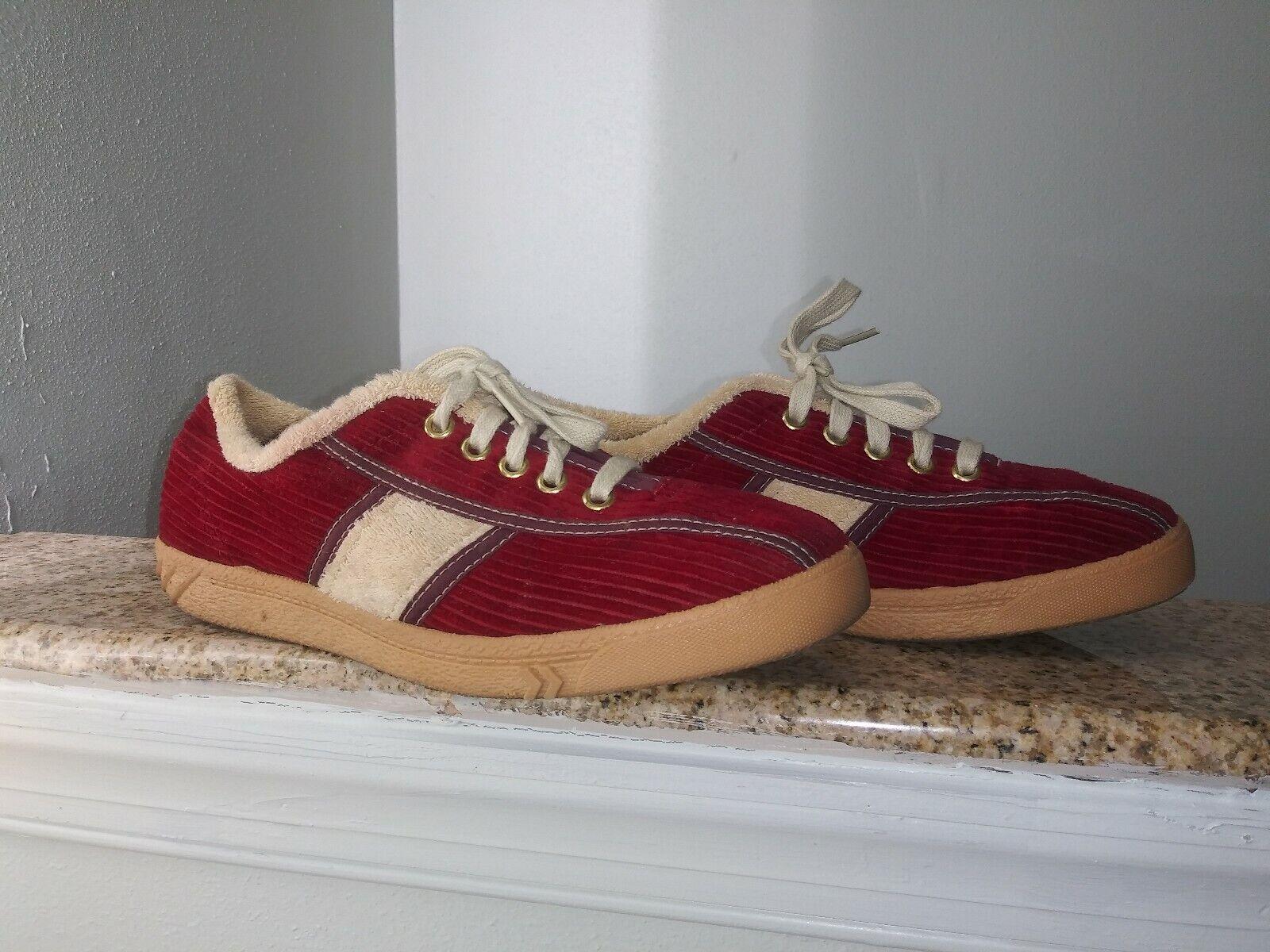 Vintage Terry Tiger Tenis Zapatos De Lona Colors De Pana Rojo Beige