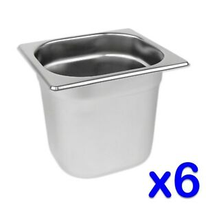 STAINLESS-STEEL-FOOD-PANS-6-x-GASTRONORM-1-6-CONTAINERS-150mm-DEEP-BAIN-MARIE