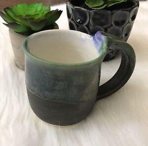 2000 JK Dryden Original Art Pottery Coffee Cup Tea Mug Gray Green Hot Springs AR