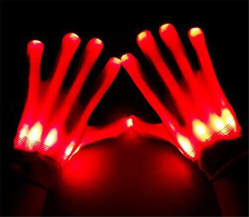 Fashion LED Finger Flashing Gloves Light Up Halloween Xmas Dance Rave Toys hi