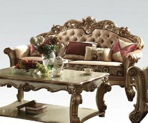Formal Traditional Sofa Love seat Gold Finish 2 Pc Antique Living room Couch