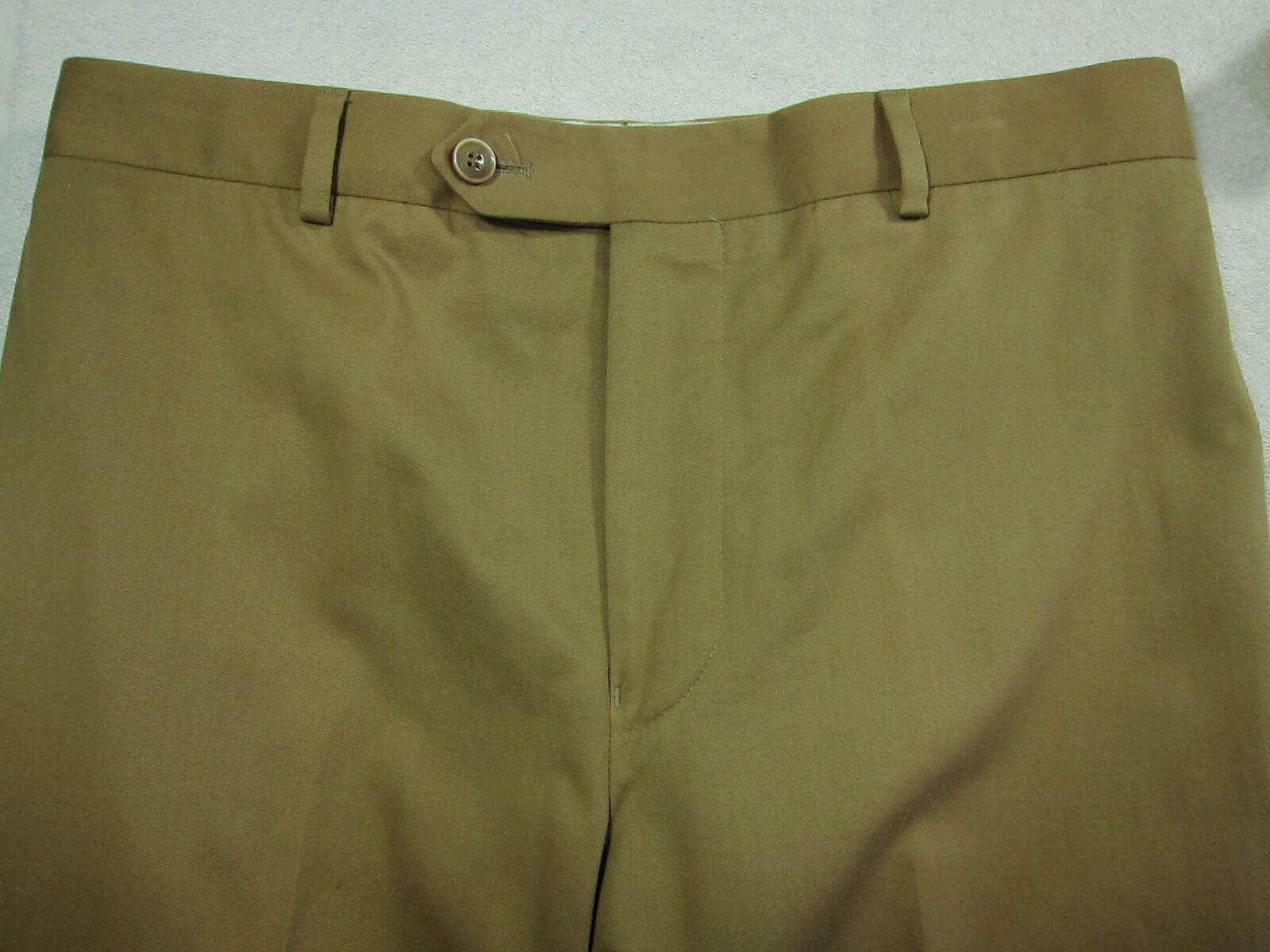GORGEOUS Samuelsohn Light Brown Cotton & Cashmere Flat Dress Pants 32x28 32W
