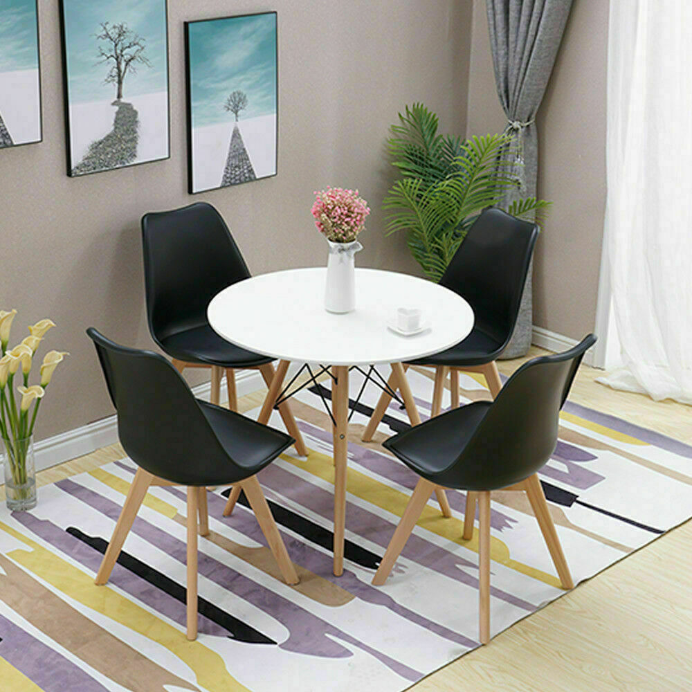 11cm Round Dining Table White And 11 Padded Tulip Chair BlacK Set Kitchen  Cafe UK