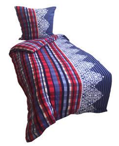 5tlg-Bettwaesche-Fleece-135x200-cm-Rot-Blau-warm-winter-mit-Laken-180-200x200-cm