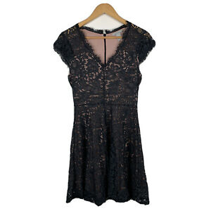 H-amp-M-Womens-Dress-Size-Small-Black-Lace-Floral-Design-Pink-Lined-Gorgeous