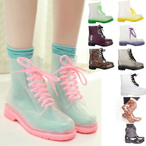 Ladies-Women-Jelly-Wellies-Boots-Rain-Winter-Lace-Up-Clear-Doc-Shoes