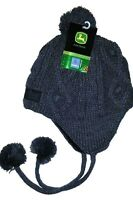 John Deere Gray Fleece Lined Pom Tassel Cable Knit Hat Stocking Cap