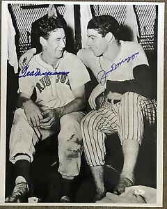 Joe-DiMaggio-Ted-Williams-Signed-16x20-Rare-Vintage-Dugout-Photo-JSA