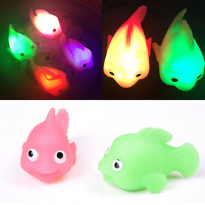 Colorful LED Water Glowing Mini Goldfish Soft Rubber Floating Light Kid Toy Gift