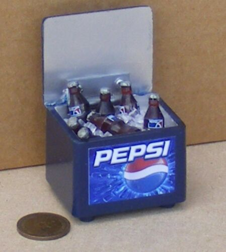 1:12 Scale Pepsi Cooler Box with 6 Bottles /& Ice tumdee Dolls House Pub Drink
