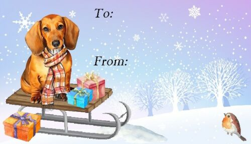 Set of 42 No 10 by Starprint Dachshund Smoothaired Red Dog Christmas Labels