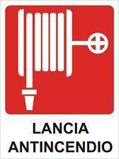 """2 TARGHETTE ADESIVE """"LANCIA ANTINCENDIO"""" SEGNALETICA SICUREZZA EMERGENZA"""