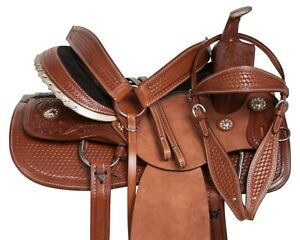Texas King Ranch Team Roping Cowboy Leather Horse Saddle Tack Set 15