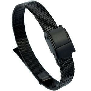 10mm-Stainless-Steel-Mesh-Milanese-Watch-Band-Bracelet-Color-Black-PVD