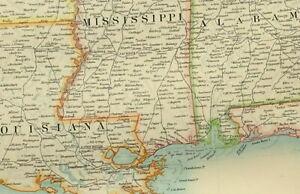 1895 ANTIQUE MAP UNITED STATES SOUTH EAST ALABAMA FLORIDA ARKANSAS GEORGIA
