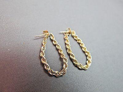 "14k Yellow Gold Hoop Chain Earrings Rope Twist 1"" Long Marked Post Backs NICE"