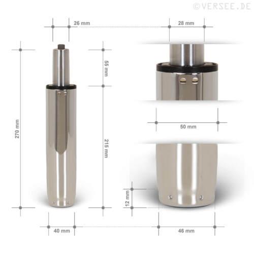Gasdruckfeder Gasfeder Gasdruckdämpfer Chrom 120mm Hub