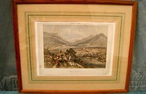 Lithographie-Nice-et-Savoie-Saint-Jean-de-Maurienne-Cadre-vitre-ancien-47x58cm