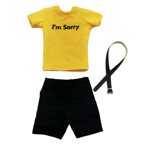 "Shorts Set for 12/"" Male Figures Yellow T-Shirt Belt 1:6 Scale Casual Wear"