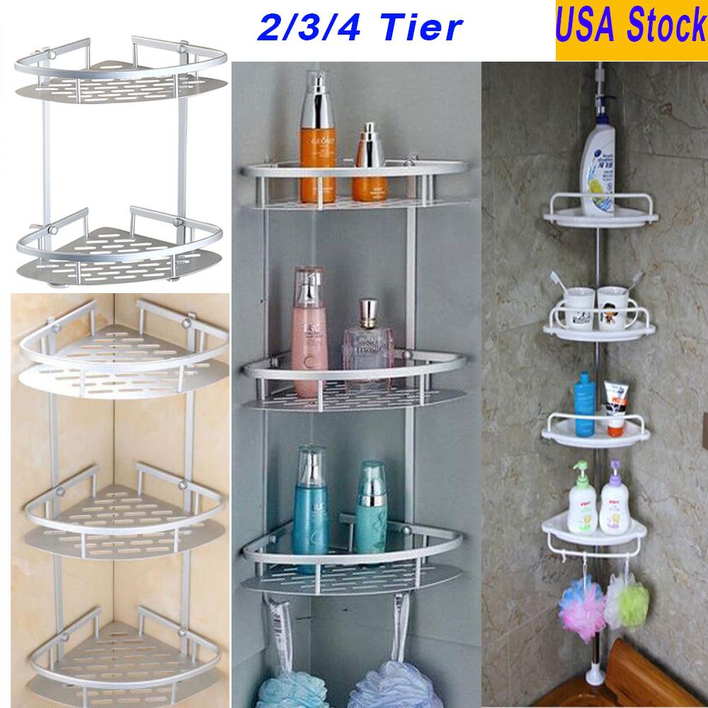 2//3//4 Tier Shower Corner Pole Caddy Shelf Rack Bathroom Bath Storage Organizer