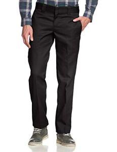 Dickies-Mens-Straight-Work-Slim-Trousers-Black-29W-x-30L