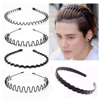 Metal Hairband Waved Unisex Men/'s Women Sports Spiral Plain Headband Black Wave