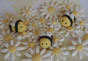 Bees-amp-Flower-Garden-CUPCAKE-TOPPERS-Edible-Cake-Daisies-BABY-SHOWER-Birthday