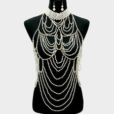 Pearl Body Chain Necklace Layered Chains Bib Choker Collar GOLD CREAM Tassel