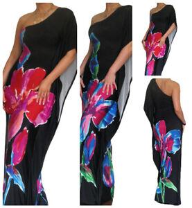 Ladies-Maxi-Dress-Kaftan-Bodycon-Boho-Summer-One-Shoulder-Size-10-12-14-16