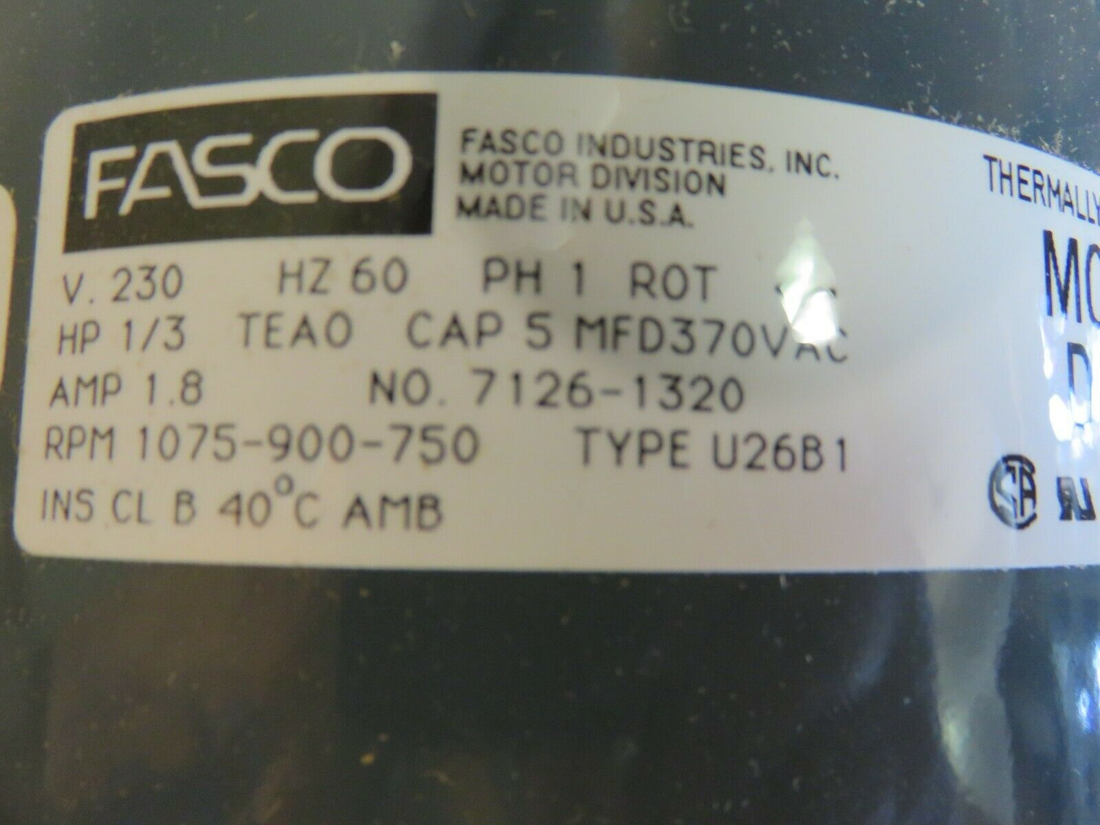 FASCO D836 ELECTRIC MOTOR 208-230V 1/3 HP PART# 7126-1320 on